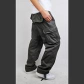 工裝長褲-多口袋韓版時尚純色寬鬆男休閒褲4色73mm35【巴黎精品】