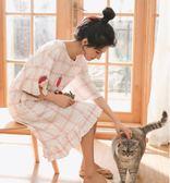 睡裙女夏短袖純棉學生可愛連身裙子薄款睡衣夏天寬鬆大碼孕婦睡裙