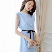 無袖洋裝 OL連身裙春夏新款韓版大碼顯瘦百搭女裝休閒潮流純色裙子 HT16102
