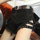 正韓chic黑色破洞牛仔短褲女夏季大碼高腰顯瘦性感女士學生熱褲潮