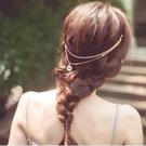 【NiNi Me】 韓系髮飾 優雅女神 水滴吊墜水鑽 後夾式髮帶 後戴式髮箍 H9243