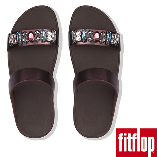 【FitFlop】FINO BEJEWELLED LEATHER SLIDES(梅紅色)