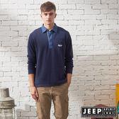 【JEEP】探險世界撞色領長袖POLO衫 (深藍)