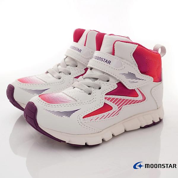 日本月星Moonstar機能童鞋頂級學步系列寬楦穩定彎曲抗菌鞋款2701白(中小童段)