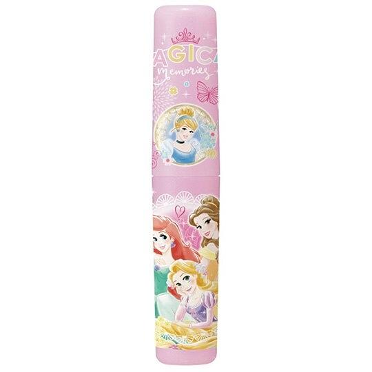 小禮堂 迪士尼 公主 日製 隨身塑膠餐具罐 牙刷罐 筆罐 收納罐 (粉 花朵) 4973307-51861