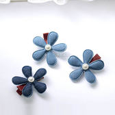 丹寧布藝花朵 兒童髮飾 花朵髮夾 髮飾