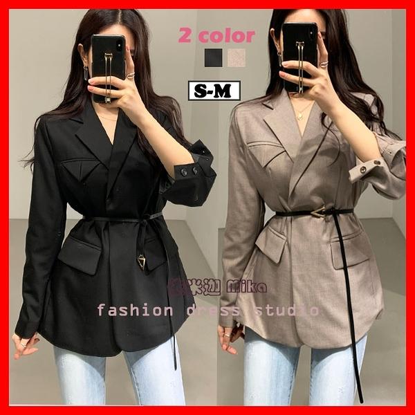 西裝外套女 韓系春夏小西裝外套 質感氣質西裝 黑色 卡色 S-M 依米迦