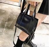 冬季潮女包純色手提包港風復古油皮單肩包簡約大氣斜跨包 可可鞋櫃