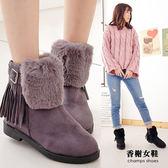 雪靴。簡約休閒流蘇保暖雪靴 香榭