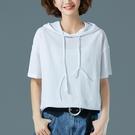 短袖T恤女夏裝正韓寬鬆胖mm大碼純色半袖連帽媽媽連帽T恤