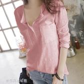 T恤春季韓國竹節棉長袖t恤女裝v領大碼寬鬆休閒體恤純棉打底衫上衣潮 夢露