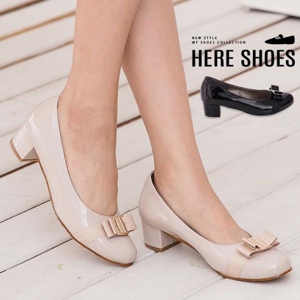 [Here Shoes] 跟鞋-4cm粗跟 氣質典雅水鑽蝴蝶結 OL上班族必敗 舒適粗低跟鞋 通勤鞋 ◆MIT台灣製─KW816A