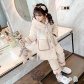 女童睡衣冬季加厚款夾棉保暖珊瑚絨兒童家居服【奇趣小屋】