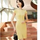 簡約線條視覺顯瘦修身剪裁OL春夏短袖合身洋裝連身裙[20X057-PF]美之札