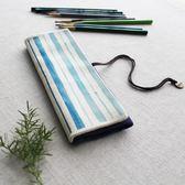 日系簡約帆布大容量筆袋 可愛卷簾筆袋