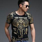 男T恤短袖 韓版休閒 潮流上衣 春夏季潮流燙金大象印花時尚 修身短袖印花T恤wx3319