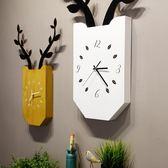 北歐創意鹿掛鐘 現客廳臥室靜音時鐘木質掛錶現代簡約家居壁掛   IGO