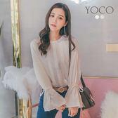 東京著衣【YOCO】恬靜午後壓摺綁帶荷葉袖上衣-S.M.L(180193)