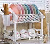 一件8折免運 瀝水架雙層放碗碟架廚房用品置物架餐具收納瀝水碗架碗櫃滴水塑料xw