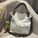 帆布大包包女包新款2020韓版學生上課手提托特布袋包單肩斜挎包潮