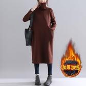 加絨高領洋裝連身裙女秋冬季新款韓版加厚保暖氣質減齡口袋長袖衛衣裙