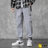 夏季子男韓版潮流薄款束腳學生九分運動褲寬鬆冰絲休閒長褲工裝褲
