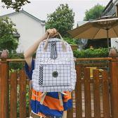 格子書包女韓版原宿ulzzang初高中學生背包學院風女生雙肩包帆布  瑪奇哈朵