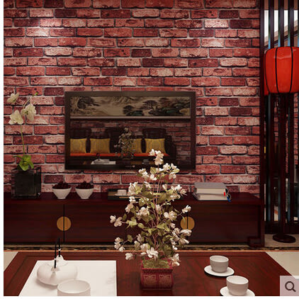 3D 仿古磚紋牆紙個性複古磚塊磚頭灰磚青磚紅磚壁紙現代中式餐廳
