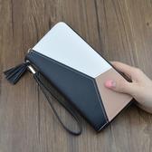 女士手拿包錢包女長款簡約新款撞色拼接拉鏈大容量錢夾女生手機包  韓語空間