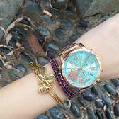 合金三眼六針四色手表 羅馬數字韓版流行枚金色假三眼腕表