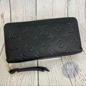BRAND楓月 LOUIS VUITTON LV M61864 黑壓紋 LOGO壓紋 拉鍊 長夾 錢包 錢夾 發財夾