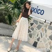 夏季新款網紗裙小碎花半身裙長裙中長款春季百褶短裙仙女裙子 米蘭潮鞋館