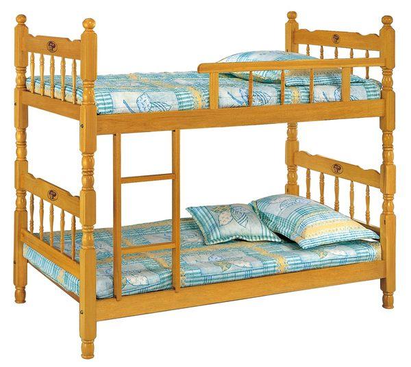 【森可家居】3尺白木單欄雙層床 7JX65-1 上下舖
