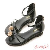 amai微奢華珍珠指環涼鞋 黑