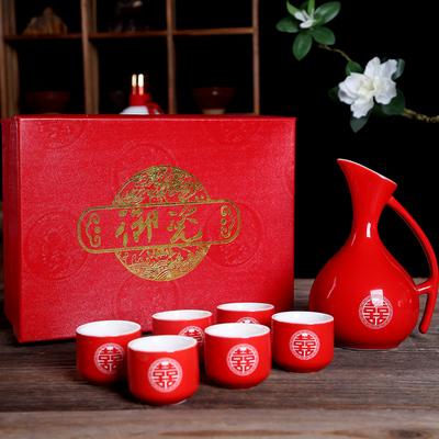 古風陶瓷白酒酒具創意個性結婚紅色敬酒杯仿古分酒器家用酒壺套裝 「夢幻小鎮」