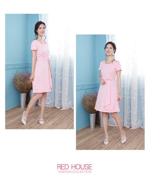 Red House 蕾赫斯-素面點點剪接打褶洋裝(共2色)