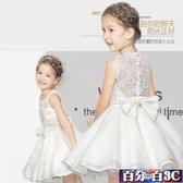 女童禮服 中大尺碼洋裝裙花童婚紗演出服兒童公主裙蓬蓬新款連身裙 百分百