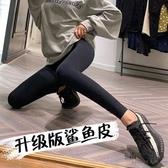 鯊魚皮打底褲女外穿薄款液體緊身壓力瘦腿瑜伽彈力褲【毒家貨源】