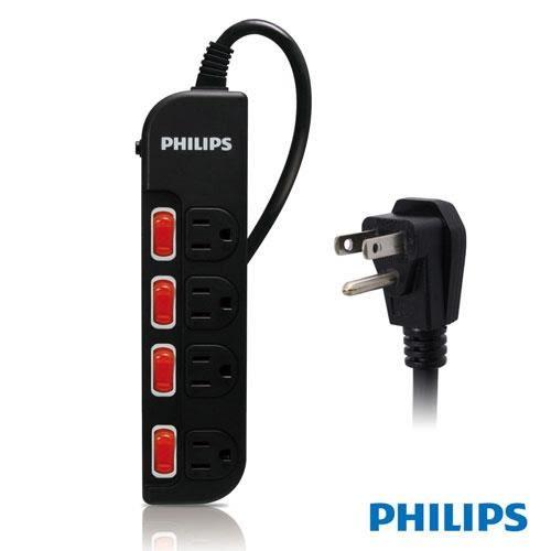 PHILIPS SPB1641BA 四開四插延長線 1.8M 黑色
