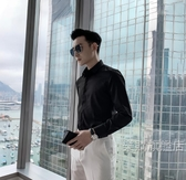 涼感襯衫 韓國男士長袖襯衫春夏尖領純色百搭英倫休閒襯衣【全館88折起】