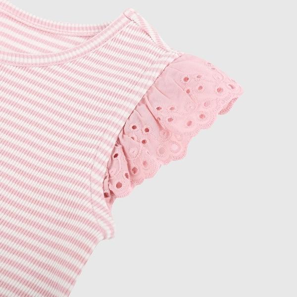 Gap女幼童 甜美鏤空花邊袖T恤 681235-粉色條紋