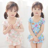 韓國女寶寶兒童泳衣女孩連體條紋女嬰兒寶寶可愛女童游泳衣送泳帽 衣櫥の秘密