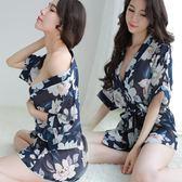 睡衣女夏季雪紡浴袍極度誘惑冰絲印花韓版少女套裝「韓風物語」