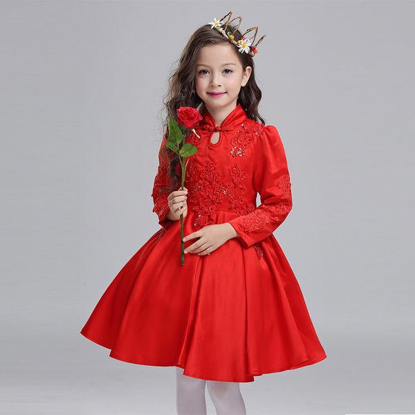 洋裝 花童 兒童旗袍 女童連身裙  花童禮服 中大童唐裝【莎芭】