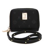 PLAYBOY-  零錢包附長背帶 Floral花漾系列 -黑色