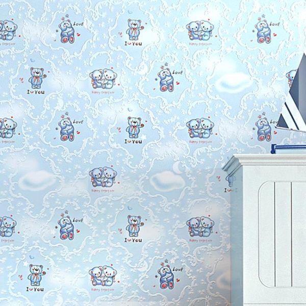 墻紙-溫馨小熊卡通壁紙兒童房加厚無紡布墻紙臥室滿鋪環保型3D立體透氣 滿498元88折立殺