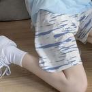 扎染短褲女ins夏季高腰寬鬆休閒外穿顯瘦大碼沙灘五分褲直筒褲子 黛尼時尚精品