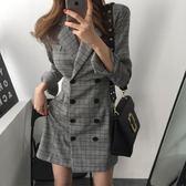 梨卡 - 秋冬火辣性感英倫風格紋雙排扣中長版縮腰西裝連身裙BR106