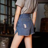新款牛仔短褲女夏季高腰牛仔短褲寬鬆闊腿褲韓版顯瘦毛邊     芊惠衣屋