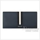 BALLY TONGY銀字LOGO防刮牛皮10卡對折長夾(深藍x黑白條紋)